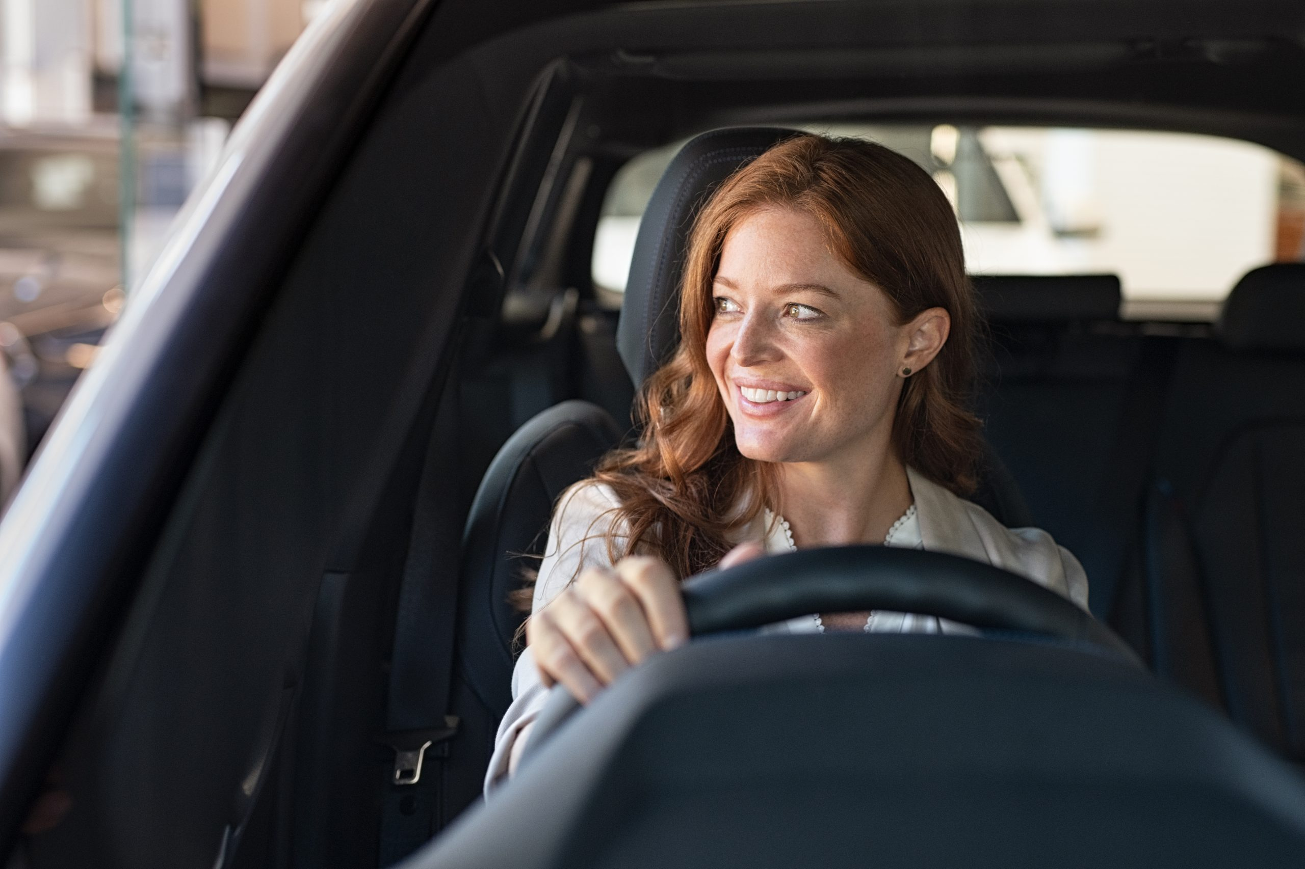 happy customer driving